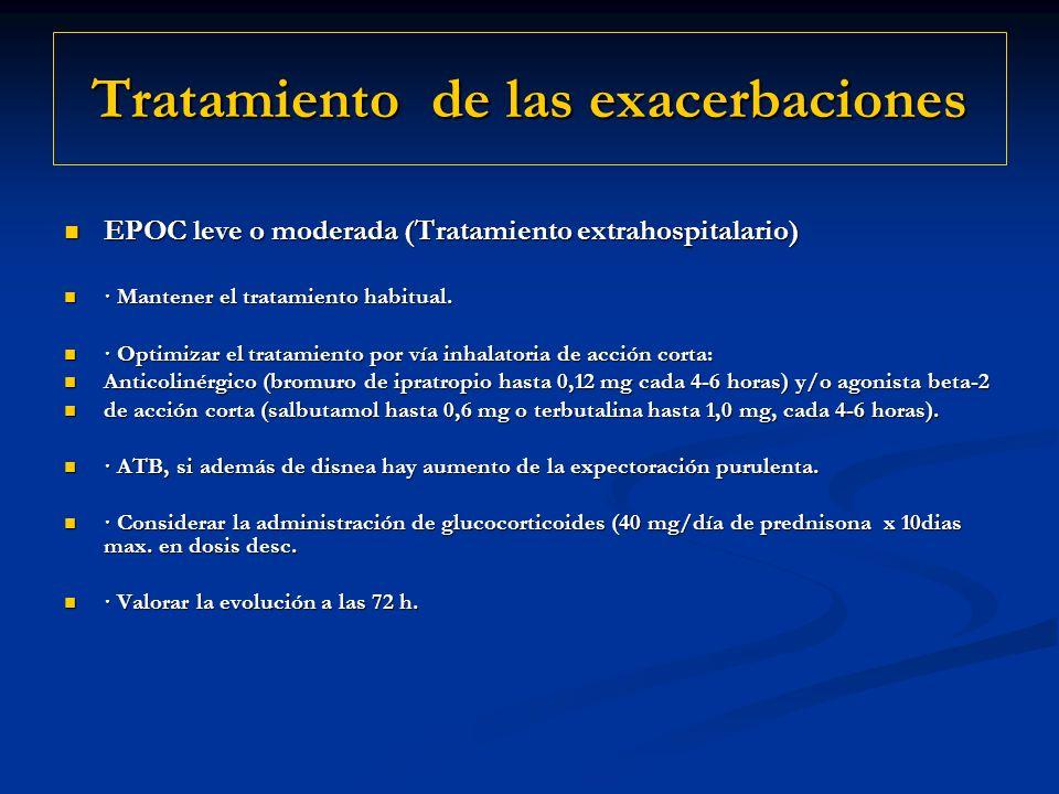 Tratamiento de las exacerbaciones EPOC leve o moderada (Tratamiento extrahospitalario) EPOC leve o moderada (Tratamiento extrahospitalario) · Mantener