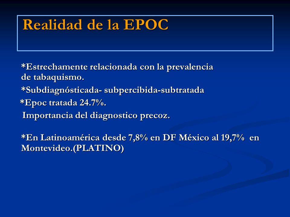 Realidad de la EPOC *Estrechamente relacionada con la prevalencia de tabaquismo. *Subdiagnósticada- subpercibida-subtratada *Epoc tratada 24.7%. *Epoc