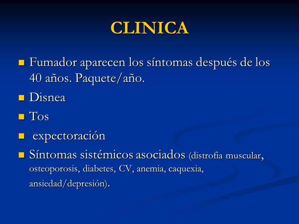 CLINICA Fumador aparecen los síntomas después de los 40 años. Paquete/año. Fumador aparecen los síntomas después de los 40 años. Paquete/año. Disnea D