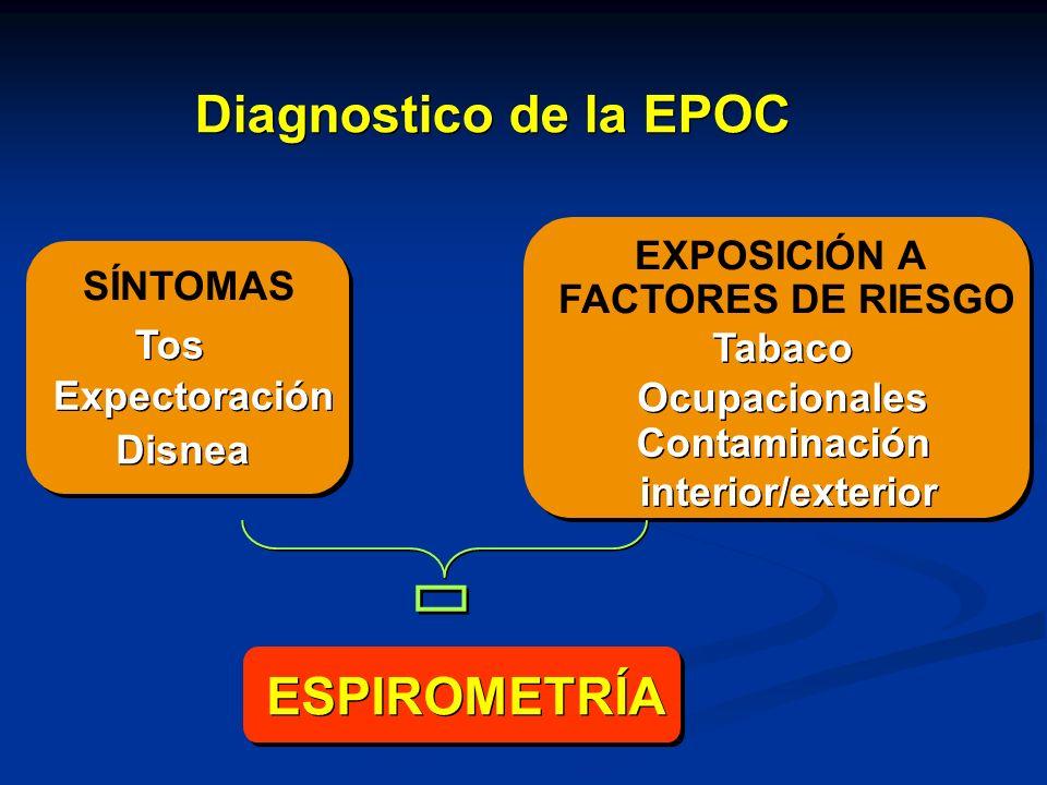 SÍNTOMAS Tos Expectoración Disnea EXPOSICIÓN A FACTORES DE RIESGO Tabaco Ocupacionales Contaminación interior/exterior Contaminación interior/exterior
