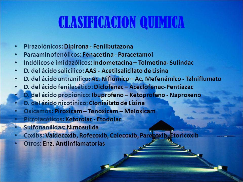CLASIFICACION QUIMICA Pirazolónicos: Dipirona - Fenilbutazona Paraaminofenólicos: Fenacetina - Paracetamol Indólicos e imidazólicos: Indometacina – To