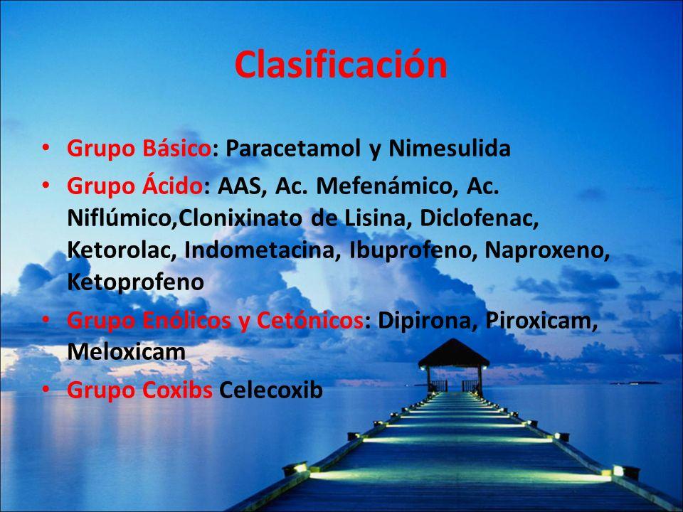 Clasificación Grupo Básico: Paracetamol y Nimesulida Grupo Ácido: AAS, Ac. Mefenámico, Ac. Niflúmico,Clonixinato de Lisina, Diclofenac, Ketorolac, Ind