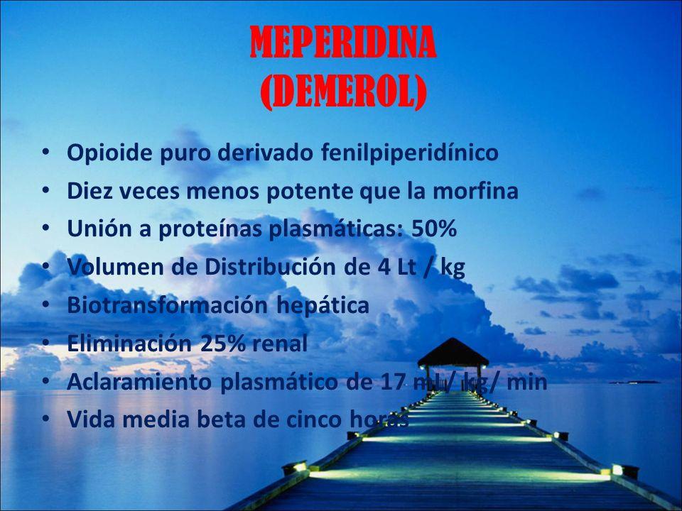 MEPERIDINA (DEMEROL) Opioide puro derivado fenilpiperidínico Diez veces menos potente que la morfina Unión a proteínas plasmáticas: 50% Volumen de Dis