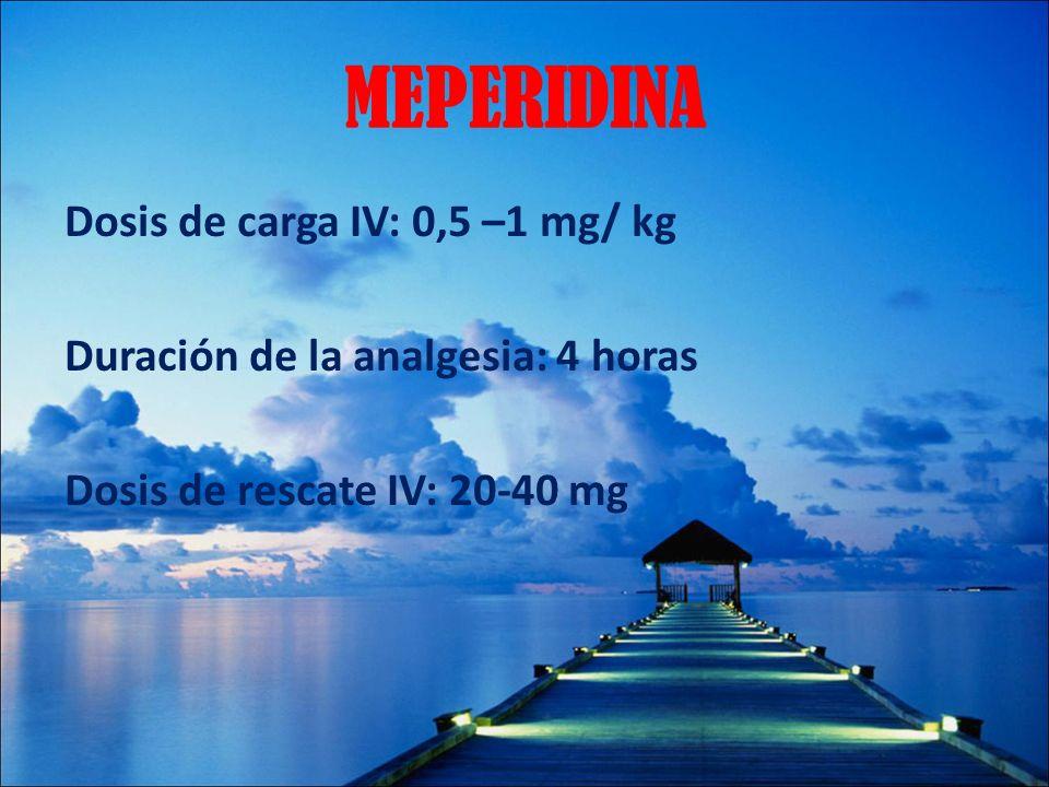 MEPERIDINA Dosis de carga IV: 0,5 –1 mg/ kg Duración de la analgesia: 4 horas Dosis de rescate IV: 20-40 mg