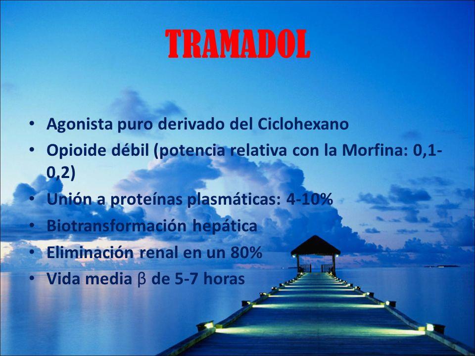TRAMADOL Agonista puro derivado del Ciclohexano Opioide débil (potencia relativa con la Morfina: 0,1- 0,2) Unión a proteínas plasmáticas: 4-10% Biotra