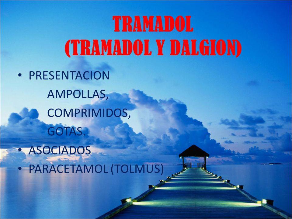 TRAMADOL (TRAMADOL Y DALGION) PRESENTACION AMPOLLAS, COMPRIMIDOS, GOTAS. ASOCIADOS PARACETAMOL (TOLMUS)