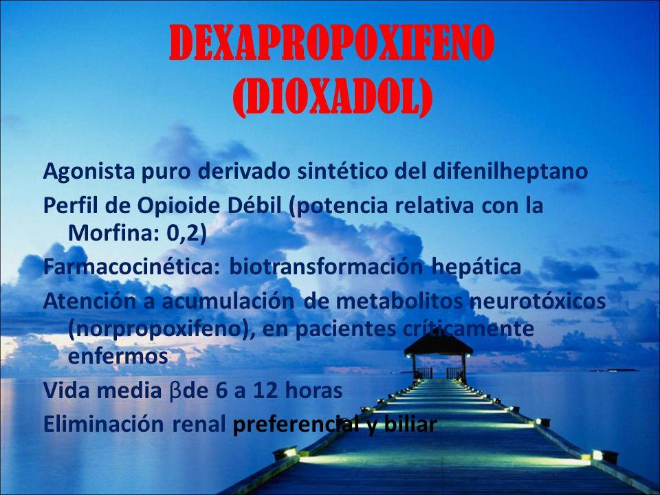 DEXAPROPOXIFENO (DIOXADOL) Agonista puro derivado sintético del difenilheptano Perfil de Opioide Débil (potencia relativa con la Morfina: 0,2) Farmaco