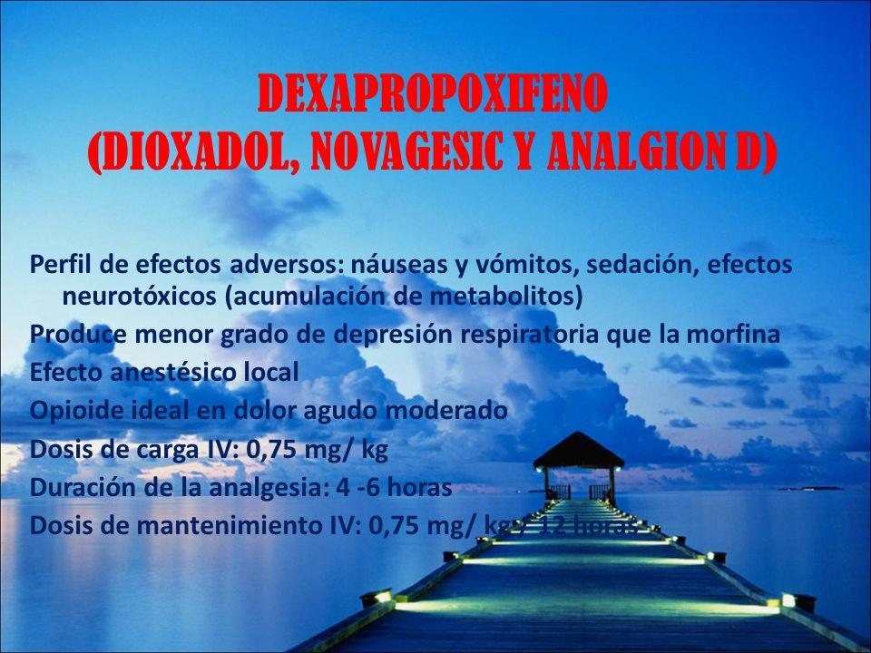 DEXAPROPOXIFENO (DIOXADOL, NOVAGESIC Y ANALGION D) Perfil de efectos adversos: náuseas y vómitos, sedación, efectos neurotóxicos (acumulación de metab