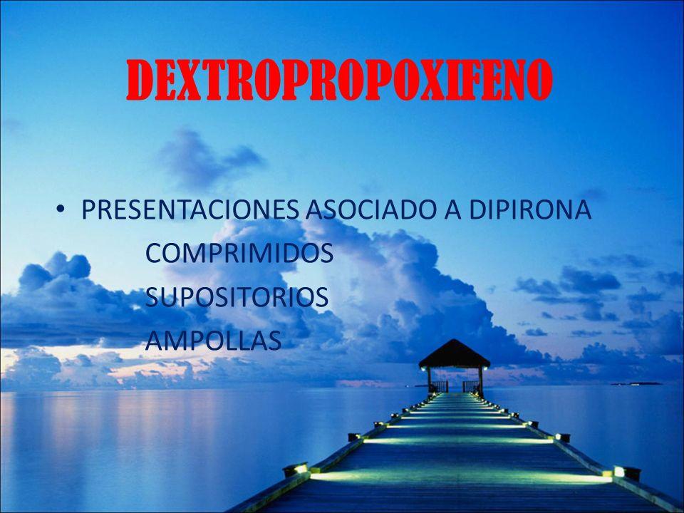 DEXTROPROPOXIFENO PRESENTACIONES ASOCIADO A DIPIRONA COMPRIMIDOS SUPOSITORIOS AMPOLLAS