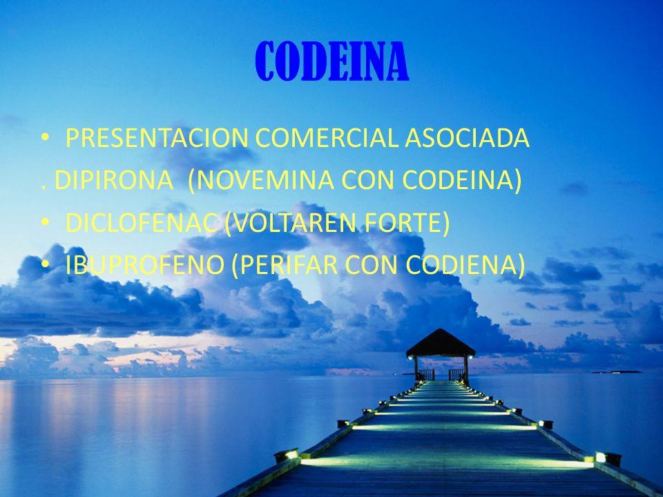 CODEINA PRESENTACION COMERCIAL ASOCIADA. DIPIRONA (NOVEMINA CON CODEINA) DICLOFENAC (VOLTAREN FORTE) IBUPROFENO (PERIFAR CON CODIENA)