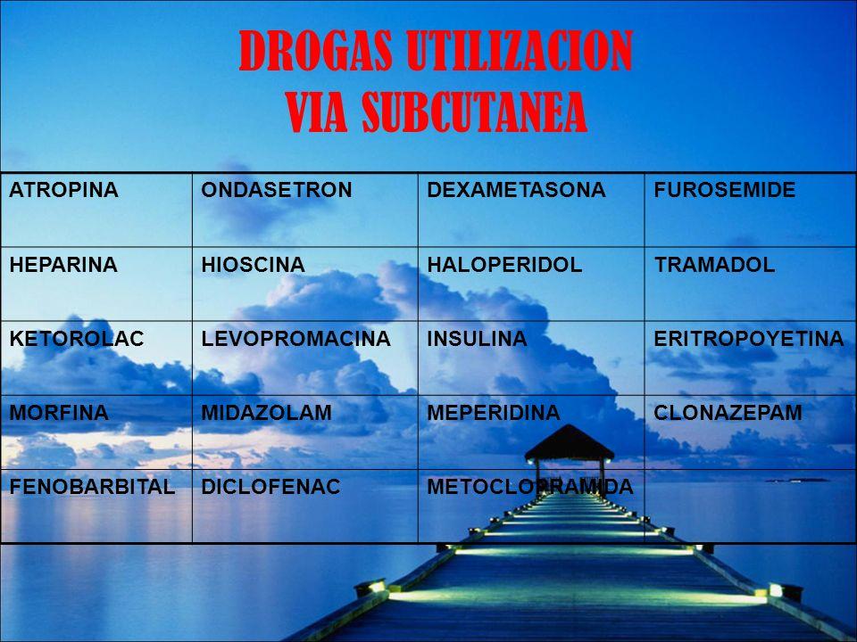 DROGAS UTILIZACION VIA SUBCUTANEA ATROPINAONDASETRONDEXAMETASONAFUROSEMIDE HEPARINAHIOSCINAHALOPERIDOLTRAMADOL KETOROLACLEVOPROMACINAINSULINAERITROPOY