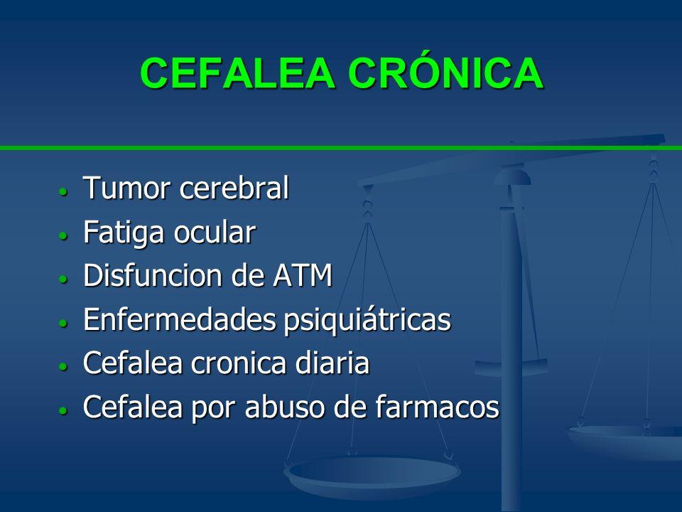 CEFALEA CRÓNICA Tumor cerebral Tumor cerebral Fatiga ocular Fatiga ocular Disfuncion de ATM Disfuncion de ATM Enfermedades psiquiátricas Enfermedades