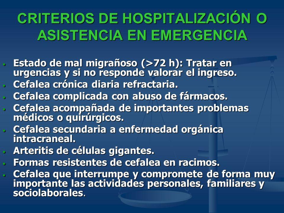 CRITERIOS DE HOSPITALIZACIÓN O ASISTENCIA EN EMERGENCIA Estado de mal migrañoso (>72 h): Tratar en urgencias y si no responde valorar el ingreso. Esta