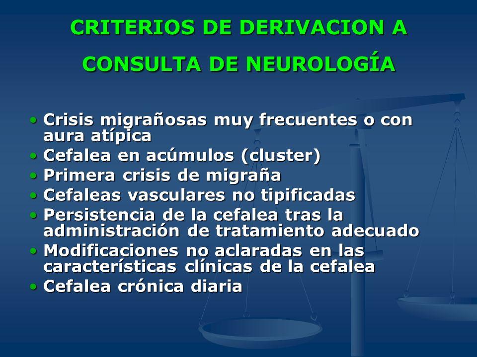 CRITERIOS DE DERIVACION A CONSULTA DE NEUROLOGÍA Crisis migrañosas muy frecuentes o con aura atípicaCrisis migrañosas muy frecuentes o con aura atípic