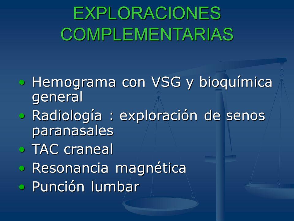 EXPLORACIONES COMPLEMENTARIAS Hemograma con VSG y bioquímica generalHemograma con VSG y bioquímica general Radiología : exploración de senos paranasal