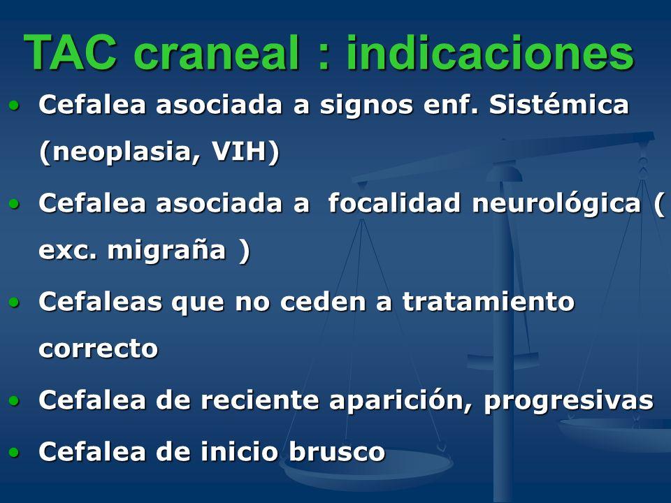 TAC craneal : indicaciones Cefalea asociada a signos enf. Sistémica (neoplasia, VIH)Cefalea asociada a signos enf. Sistémica (neoplasia, VIH) Cefalea