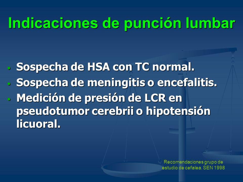 Indicaciones de punción lumbar Sospecha de HSA con TC normal. Sospecha de HSA con TC normal. Sospecha de meningitis o encefalitis. Sospecha de meningi