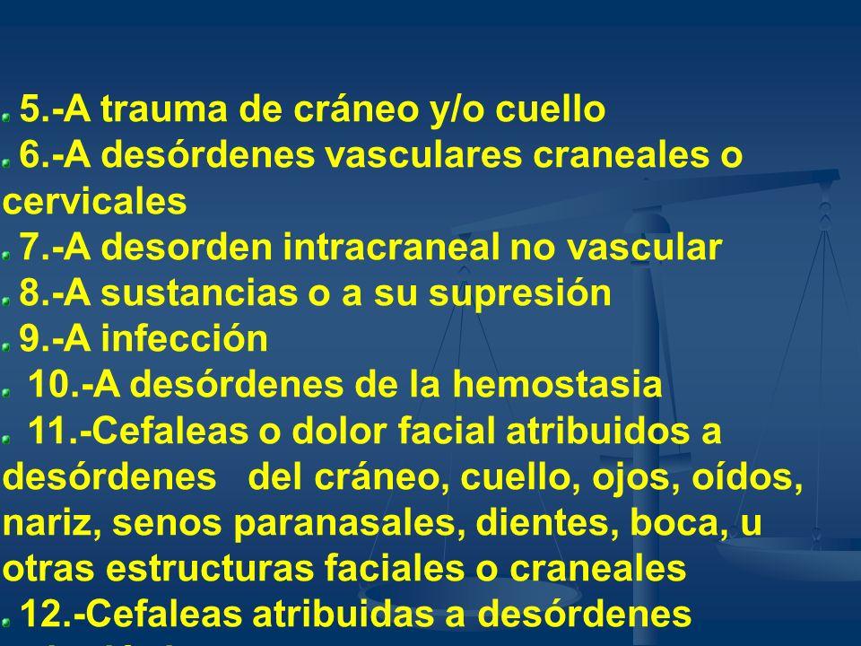 5.-A trauma de cráneo y/o cuello 6.-A desórdenes vasculares craneales o cervicales 7.-A desorden intracraneal no vascular 8.-A sustancias o a su supre