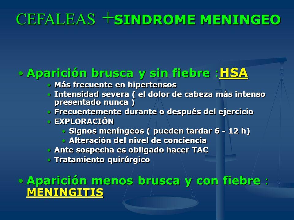 CEFALEAS + SINDROME MENINGEO Aparición brusca y sin fiebre : HSAAparición brusca y sin fiebre : HSA Más frecuente en hipertensosMás frecuente en hiper
