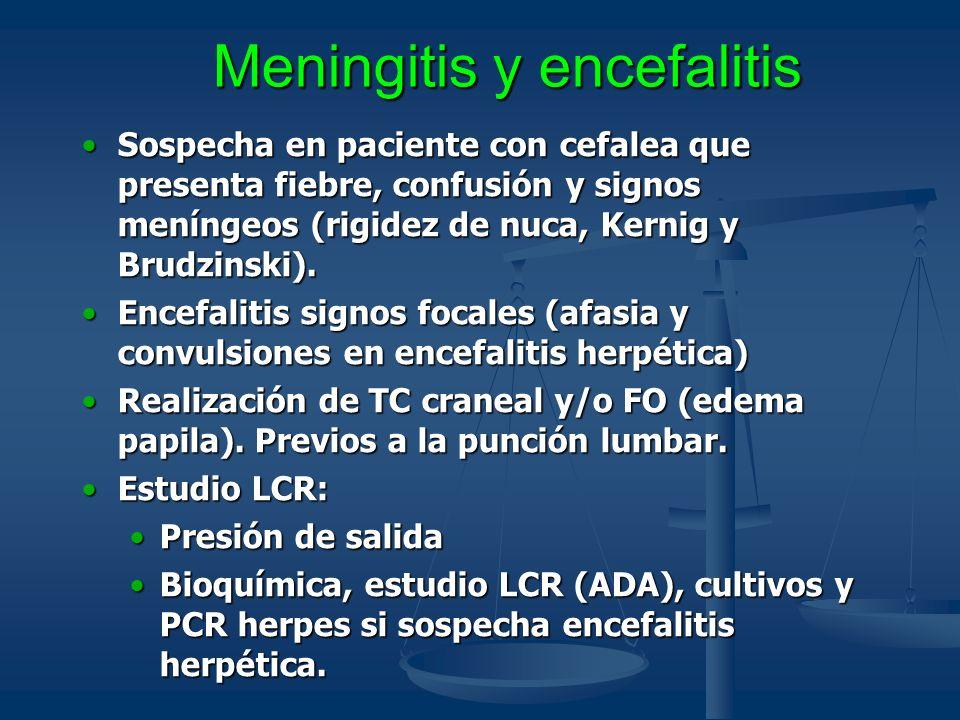 Meningitis y encefalitis Sospecha en paciente con cefalea que presenta fiebre, confusión y signos meníngeos (rigidez de nuca, Kernig y Brudzinski).Sos