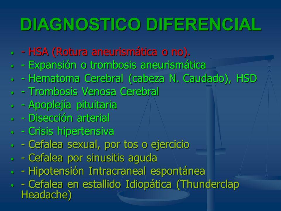 DIAGNOSTICO DIFERENCIAL - HSA (Rotura aneurismática o no). - HSA (Rotura aneurismática o no). - Expansión o trombosis aneurismática - Expansión o trom