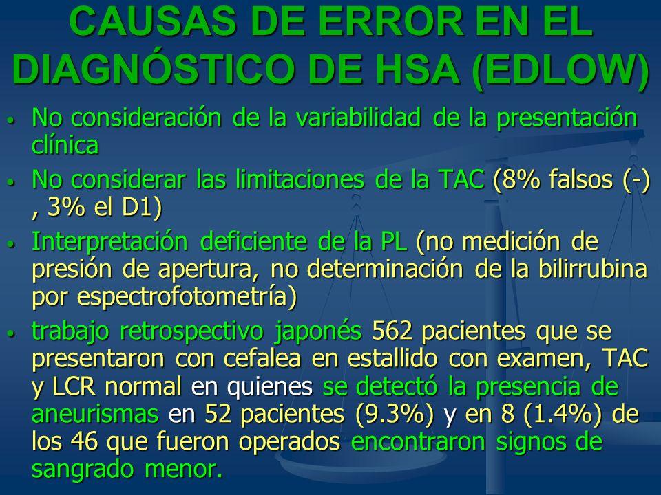 CAUSAS DE ERROR EN EL DIAGNÓSTICO DE HSA (EDLOW) No consideración de la variabilidad de la presentación clínica No consideración de la variabilidad de