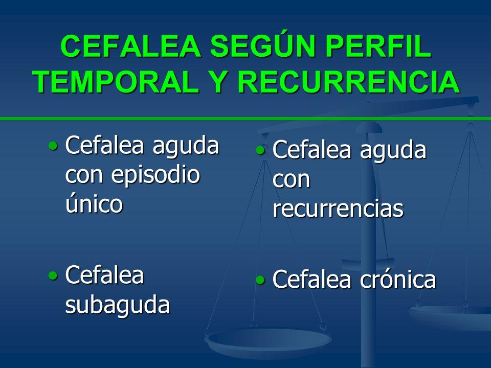 CEFALEA SEGÚN PERFIL TEMPORAL Y RECURRENCIA Cefalea aguda con episodio únicoCefalea aguda con episodio único Cefalea subagudaCefalea subaguda Cefalea