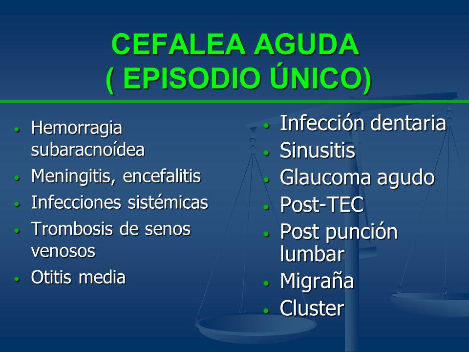 CEFALEA AGUDA ( EPISODIO ÚNICO) Hemorragia subaracnoídea Hemorragia subaracnoídea Meningitis, encefalitis Meningitis, encefalitis Infecciones sistémic