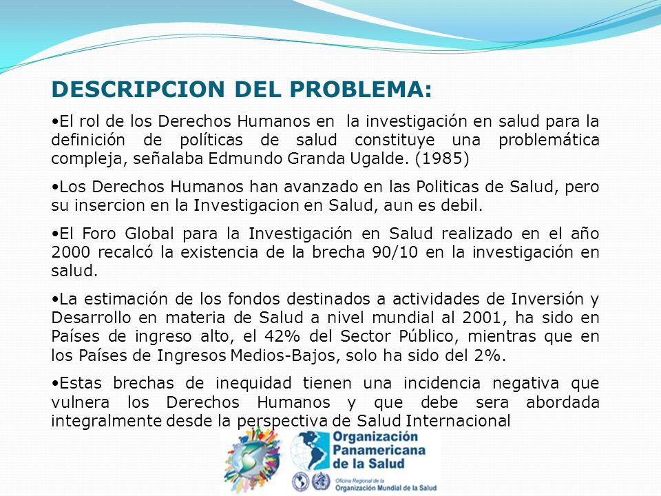 DESCRIPCION DEL PROBLEMA: El rol de los Derechos Humanos en la investigación en salud para la definición de políticas de salud constituye una problemá