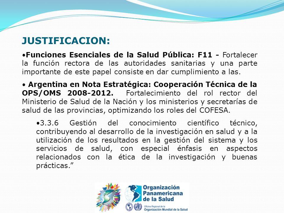 JUSTIFICACION: Funciones Esenciales de la Salud Pública: F11 - Fortalecer la función rectora de las autoridades sanitarias y una parte importante de este papel consiste en dar cumplimiento a las.