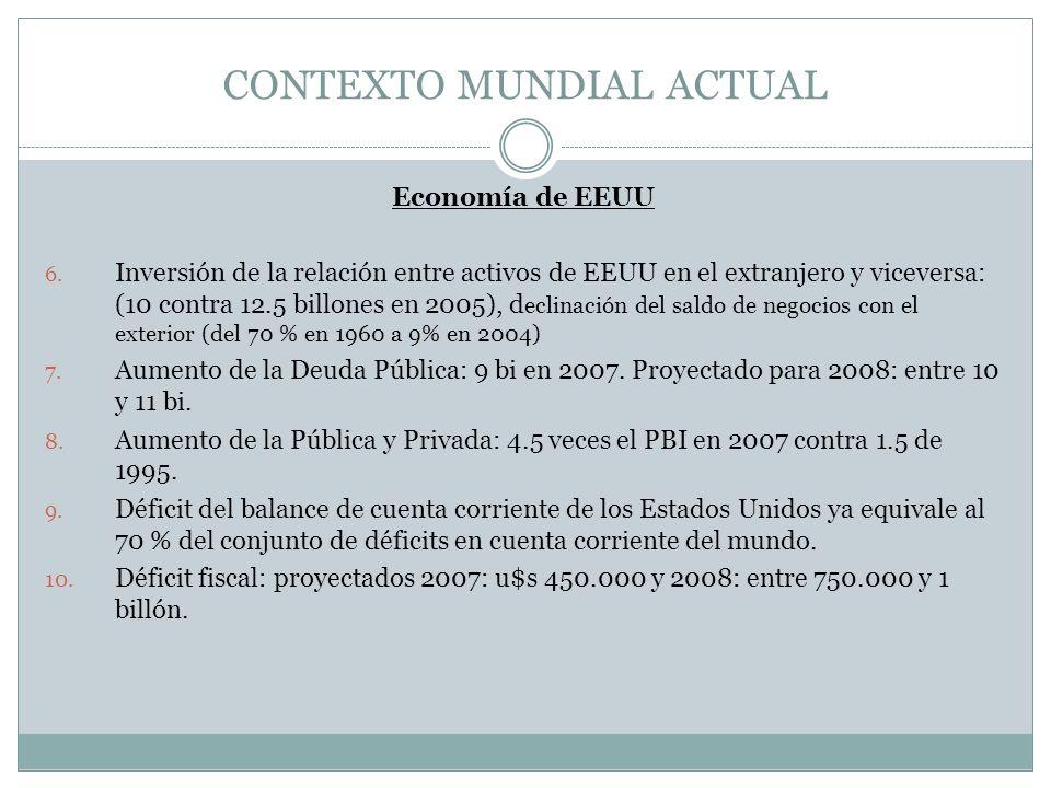 CONTEXTO MUNDIAL ACTUAL Economía de EEUU 6.
