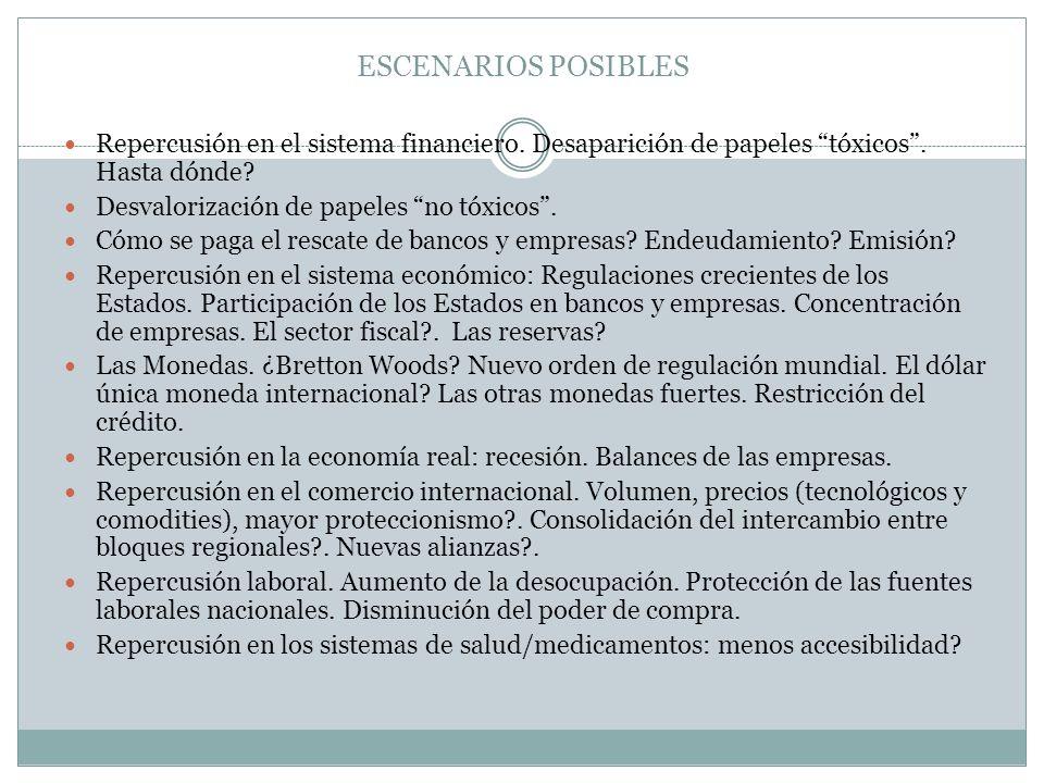 ESCENARIOS POSIBLES Repercusión en el sistema financiero.