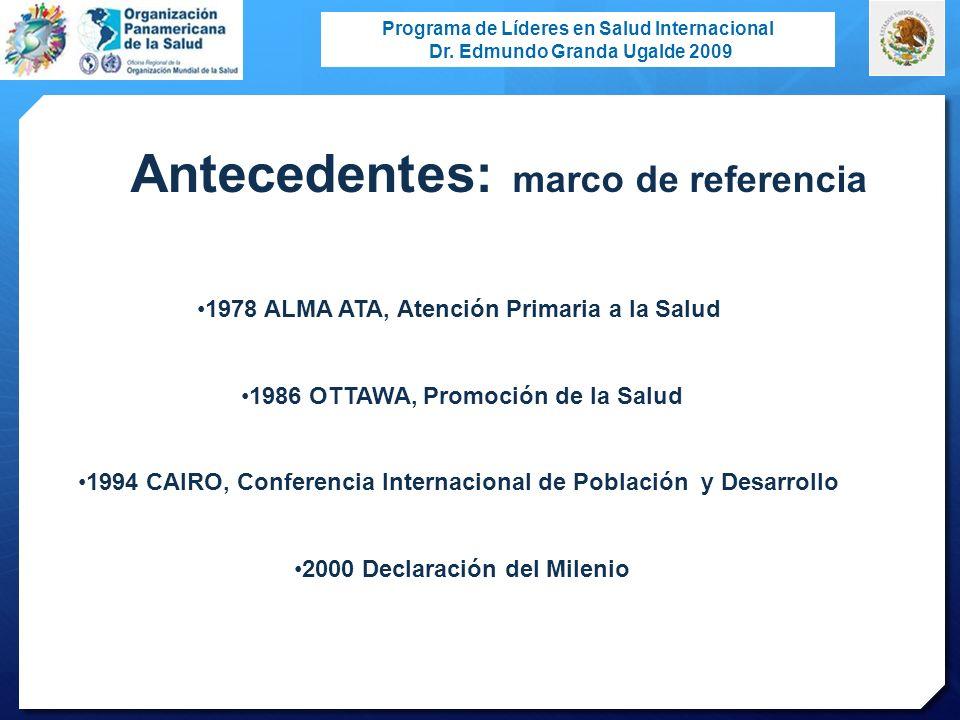 Programa de Líderes en Salud Internacional Dr. Edmundo Granda Ugalde 2009 1978 ALMA ATA, Atención Primaria a la Salud 1986 OTTAWA, Promoción de la Sal