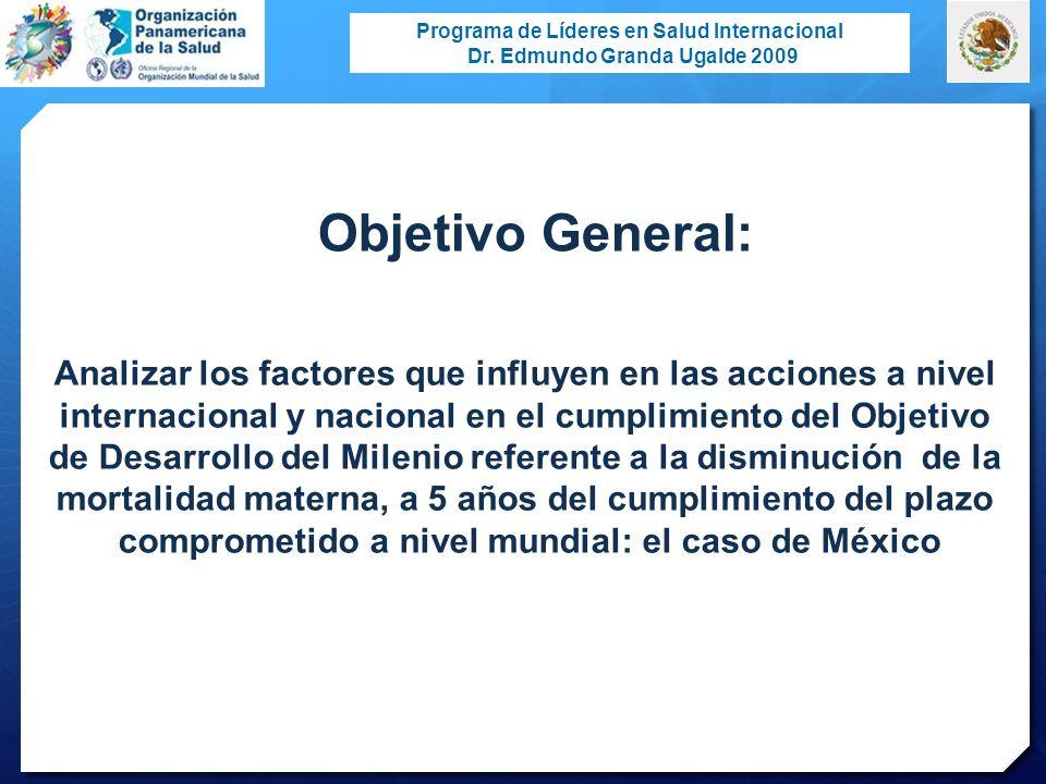 Programa de Líderes en Salud Internacional Dr. Edmundo Granda Ugalde 2009 Analizar los factores que influyen en las acciones a nivel internacional y n