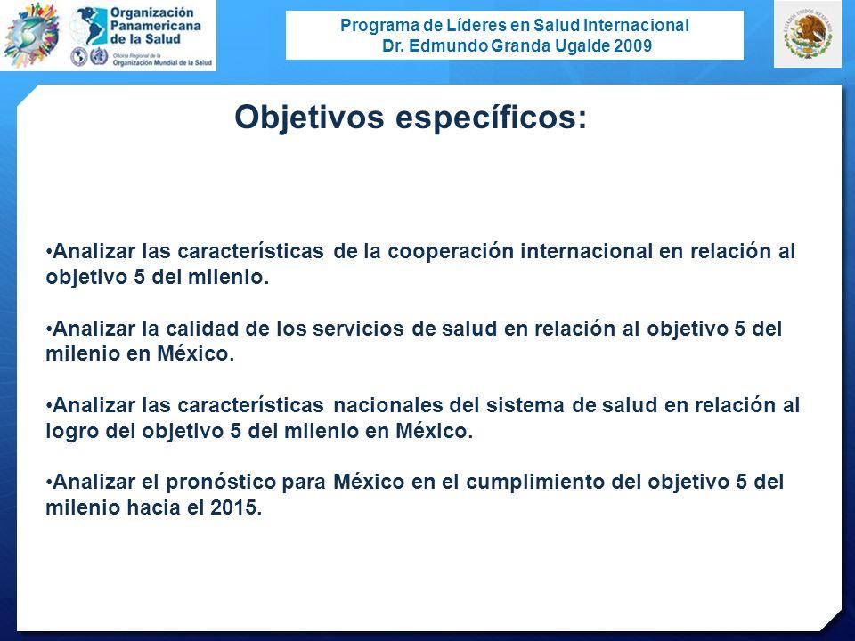 Programa de Líderes en Salud Internacional Dr. Edmundo Granda Ugalde 2009 Objetivos específicos: Analizar las características de la cooperación intern