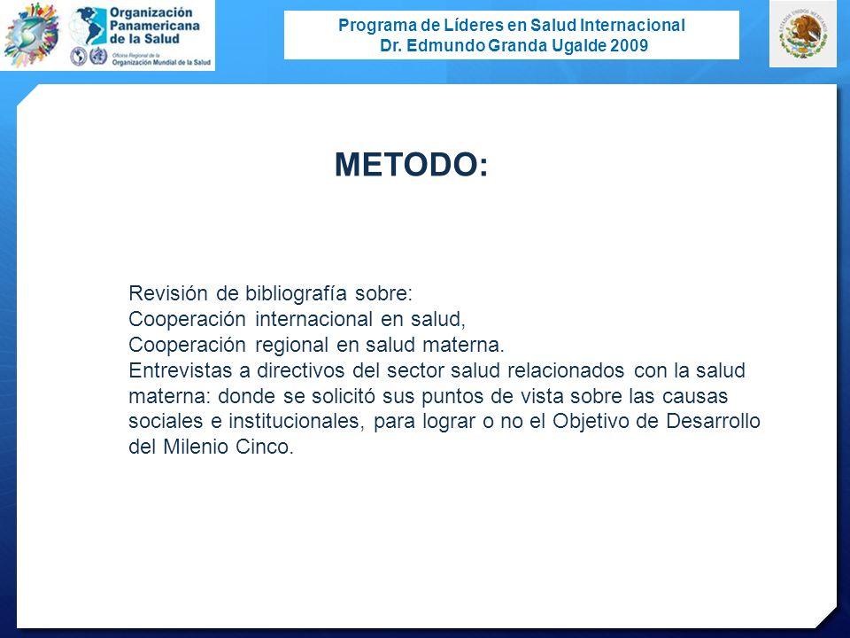 Programa de Líderes en Salud Internacional Dr. Edmundo Granda Ugalde 2009 METODO: Revisión de bibliografía sobre: Cooperación internacional en salud,