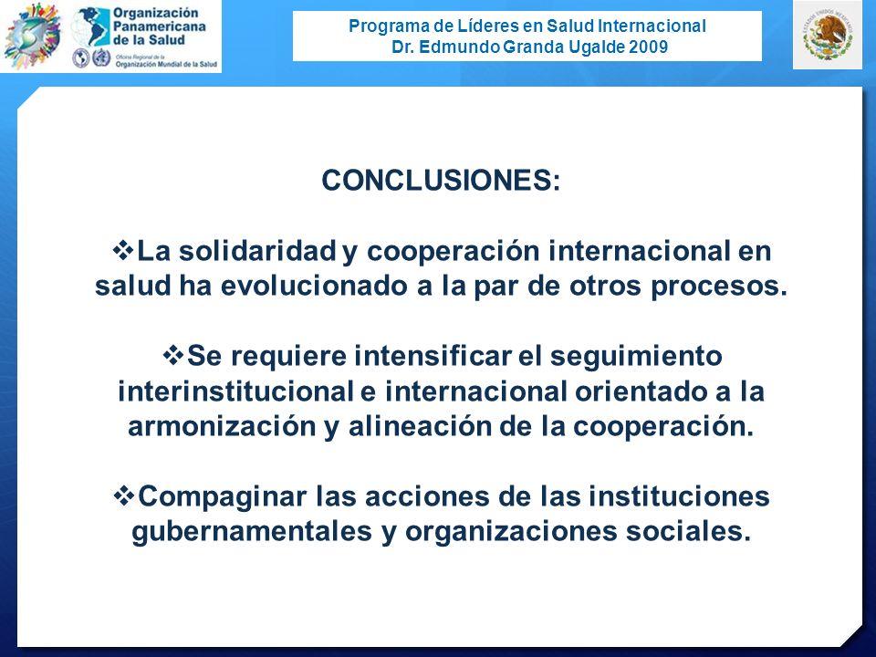 Programa de Líderes en Salud Internacional Dr. Edmundo Granda Ugalde 2009 CONCLUSIONES: La solidaridad y cooperación internacional en salud ha evoluci