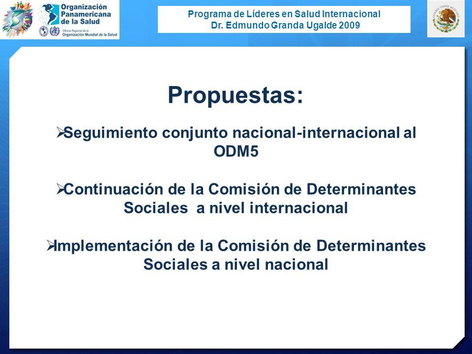 Programa de Líderes en Salud Internacional Dr. Edmundo Granda Ugalde 2009 Propuestas: Seguimiento conjunto nacional-internacional al ODM5 Continuación