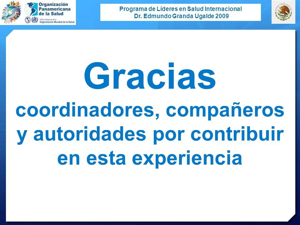 Programa de Líderes en Salud Internacional Dr. Edmundo Granda Ugalde 2009 Gracias coordinadores, compañeros y autoridades por contribuir en esta exper