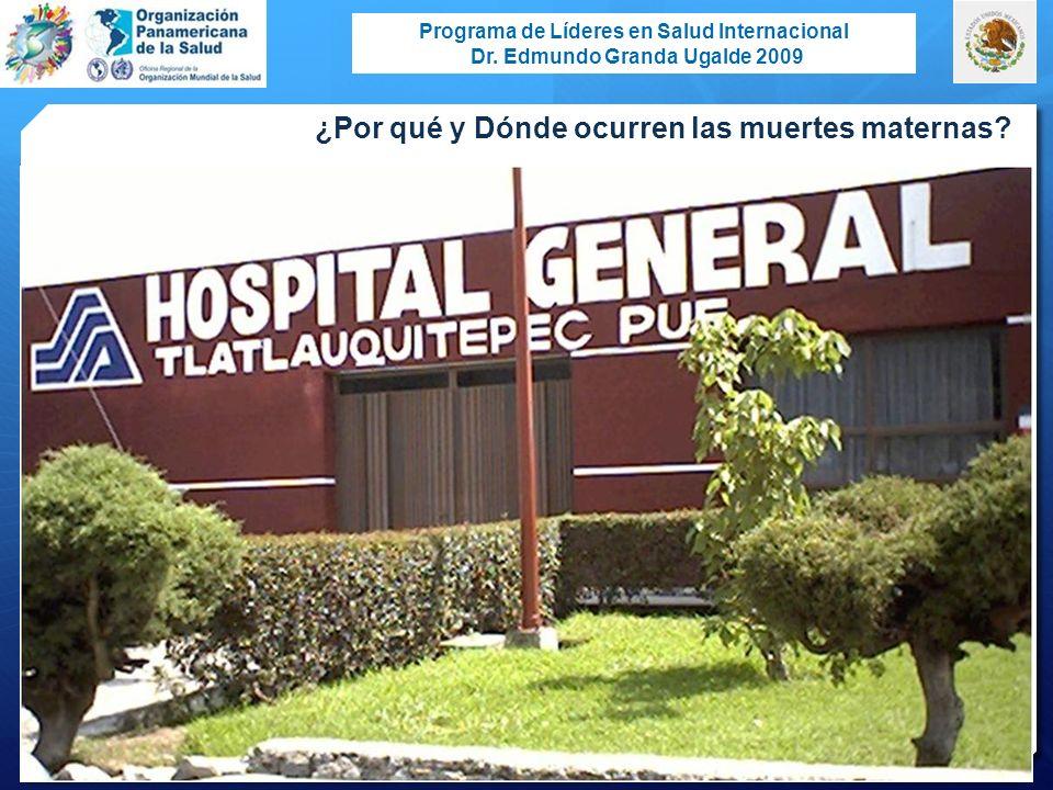 Programa de Líderes en Salud Internacional Dr. Edmundo Granda Ugalde 2009 ¿Por qué y Dónde ocurren las muertes maternas?