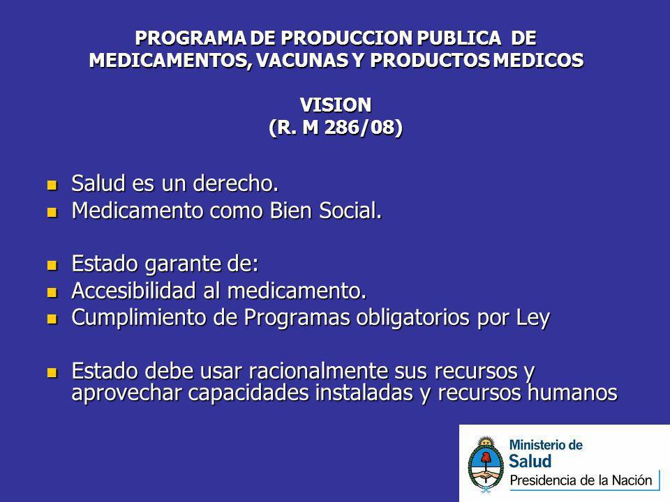 PROGRAMA DE PRODUCCION PUBLICA DE MEDICAMENTOS, VACUNAS Y PRODUCTOS MEDICOS VISION (R. M 286/08) Salud es un derecho. Salud es un derecho. Medicamento