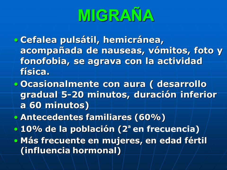 MIGRAÑA MIGRAÑA Cefalea pulsátil, hemicránea, acompañada de nauseas, vómitos, foto y fonofobia, se agrava con la actividad física.Cefalea pulsátil, he