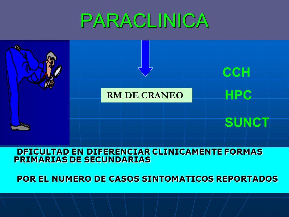 PARACLINICA DFICULTAD EN DIFERENCIAR CLINICAMENTE FORMAS PRIMARIAS DE SECUNDARIAS DFICULTAD EN DIFERENCIAR CLINICAMENTE FORMAS PRIMARIAS DE SECUNDARIA