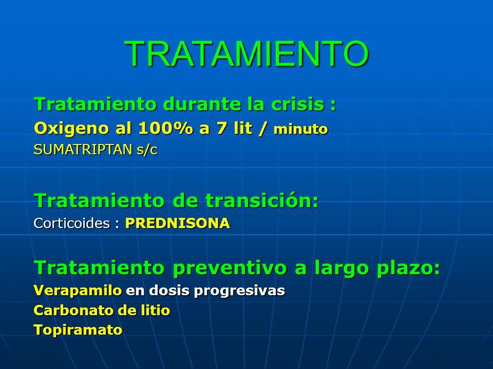 TRATAMIENTO Tratamiento durante la crisis : Oxigeno al 100% a 7 lit / minuto SUMATRIPTAN s/c Tratamiento de transición: Corticoides : PREDNISONA Trata