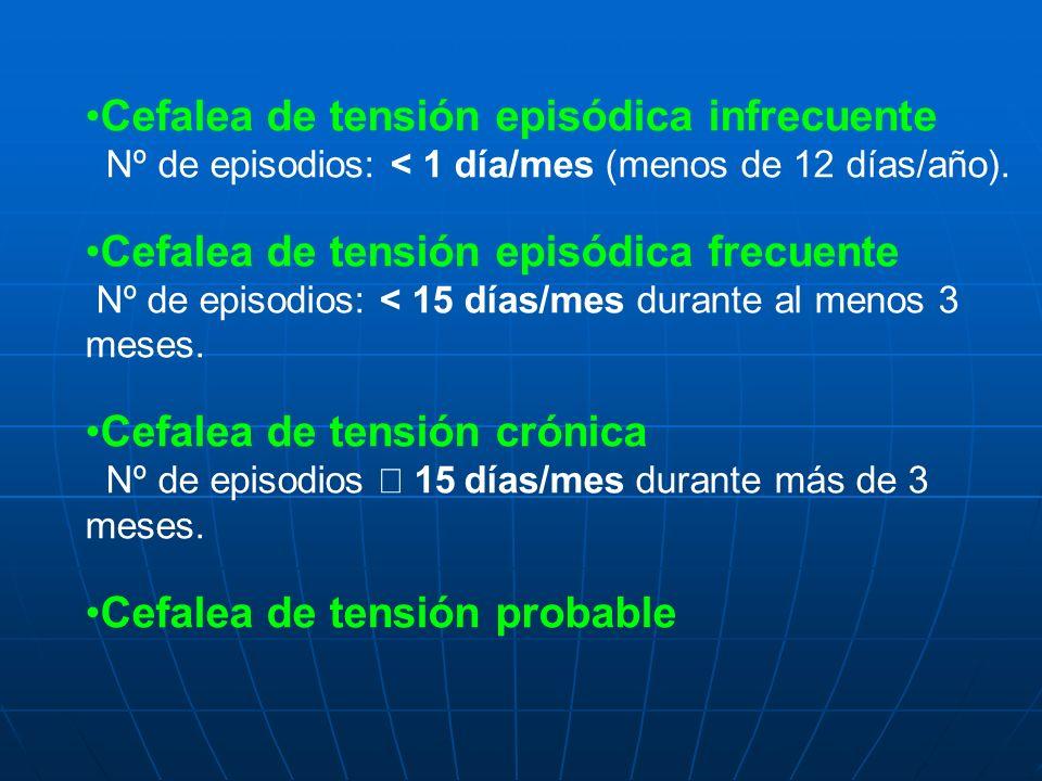 Cefalea de tensión episódica infrecuente Nº de episodios: < 1 día/mes (menos de 12 días/año). Cefalea de tensión episódica frecuente Nº de episodios: