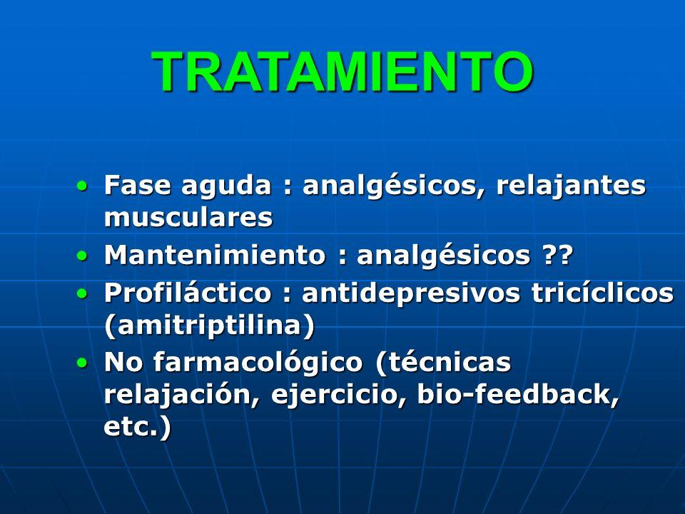 TRATAMIENTO Fase aguda : analgésicos, relajantes muscularesFase aguda : analgésicos, relajantes musculares Mantenimiento : analgésicos ??Mantenimiento