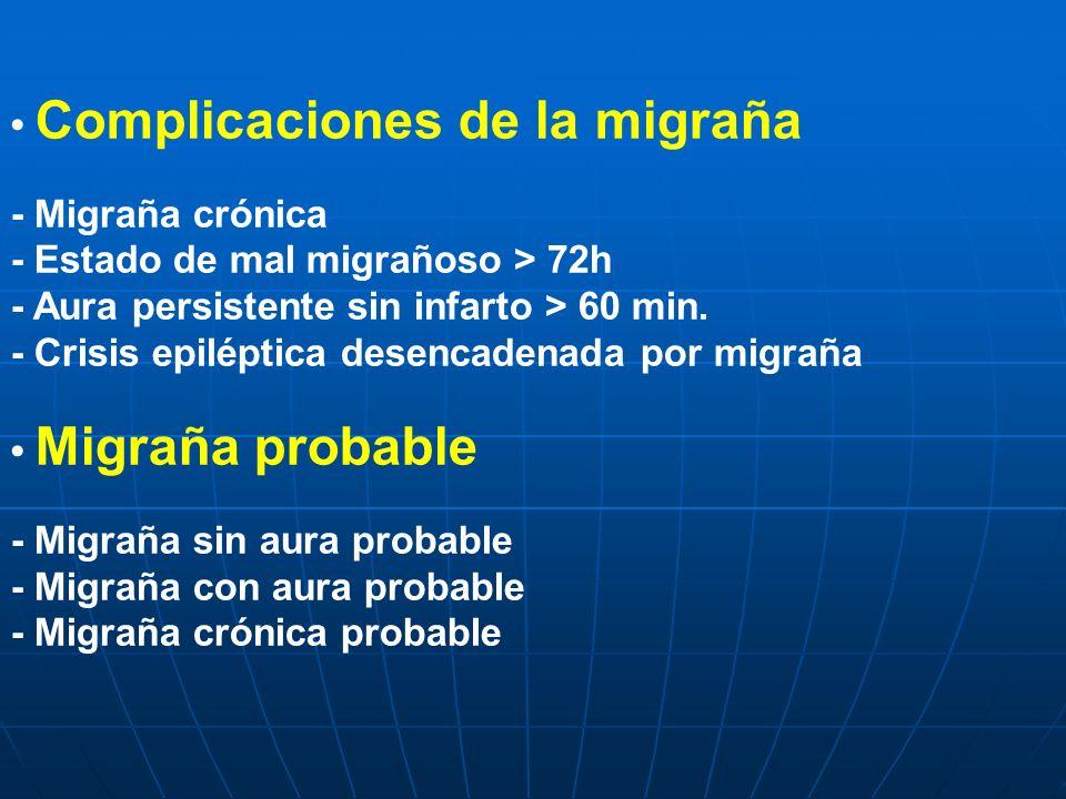Complicaciones de la migraña - Migraña crónica - Estado de mal migrañoso > 72h - Aura persistente sin infarto > 60 min. - Crisis epiléptica desencaden