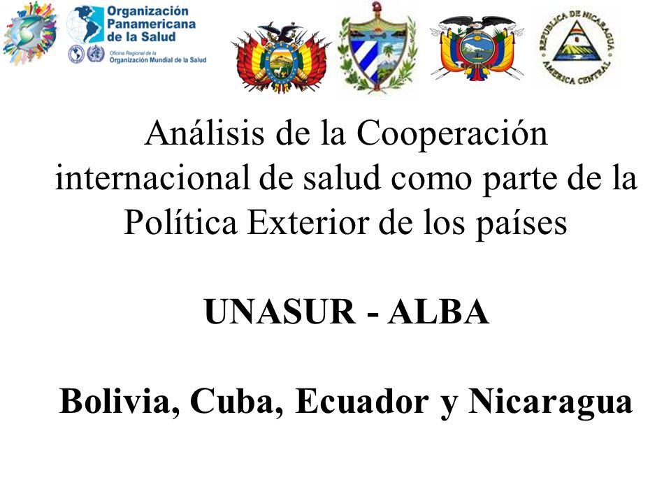Análisis de la Cooperación internacional de salud como parte de la Política Exterior de los países UNASUR - ALBA Bolivia, Cuba, Ecuador y Nicaragua
