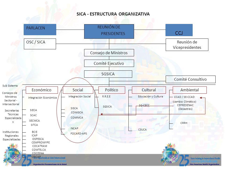 SICA - ESTRUCTURA ORGANIZATIVA REUNIÓN DE PRESIDENTES PARLACEN CCJ OSC / SICAReunión de Vicepresidentes Consejo de Ministros Comité Ejecutivo SGSICA C