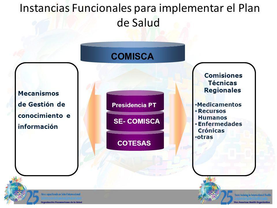 Instancias Funcionales para implementar el Plan de Salud SE- COMISCA Presidencia PT COTESAS Mecanismos de Gestión de conocimiento e información Comisi